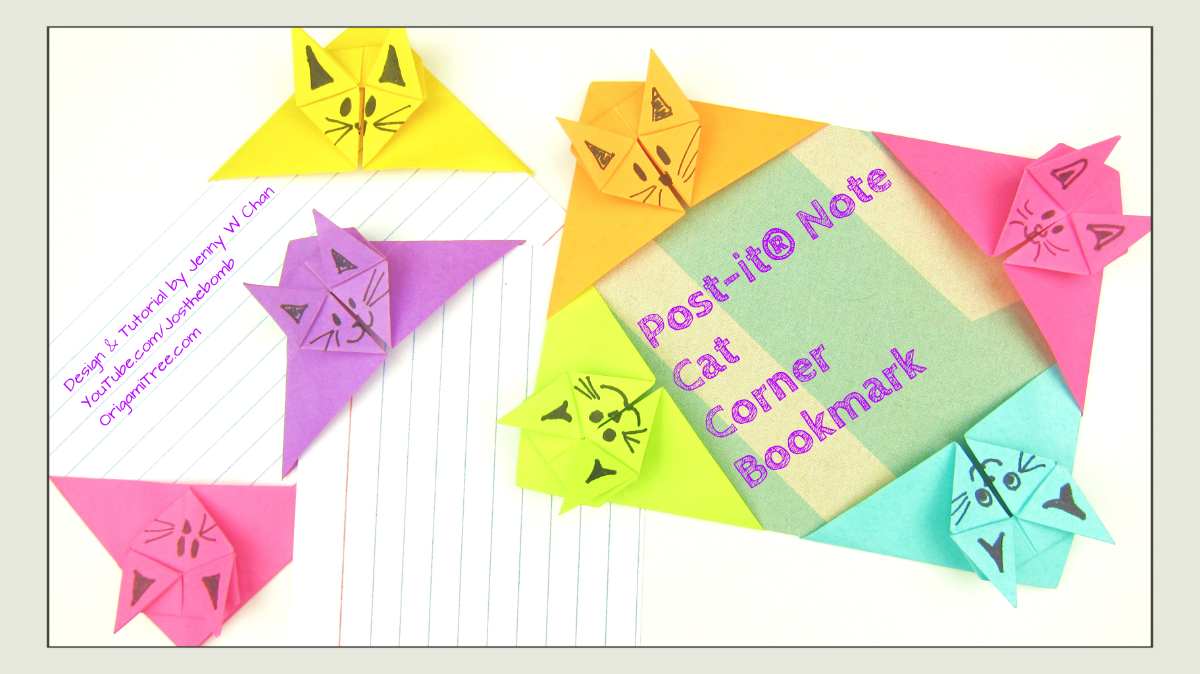 Post it note crafts origami cat corner bookmark origamitree jeuxipadfo Images