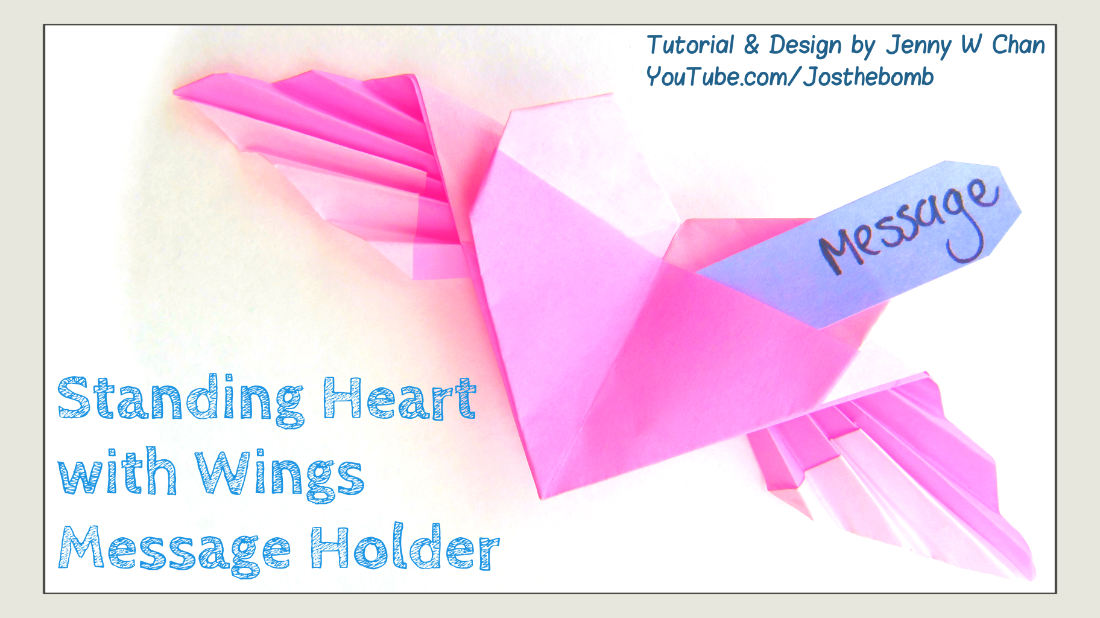 Origami Standing Heart With Wings Origamitree