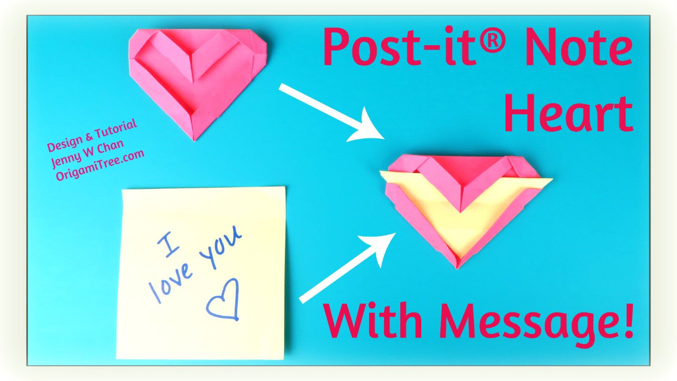 Origami Post ItR Note Heart With Message OrigamiTree